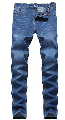 GUNLIRE Men's Blue Skinny Jeans Stretch Slim Straight Fit Fashion Denim (Straight Fit Basic Jean)