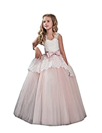 GU ZI YANG Lace Cap Sleeves Ball Gowns Flower Girls Dresses First Communion Gowns 67