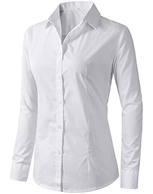 Women's Formal Work Wear Simple Button Down Shirt