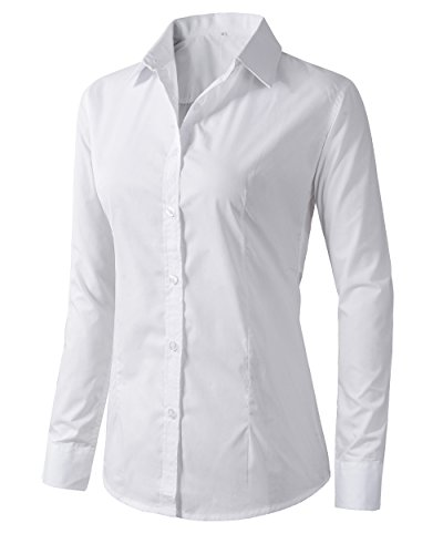 (Women's Formal Work Wear White Simple Shirt (L, 225White))