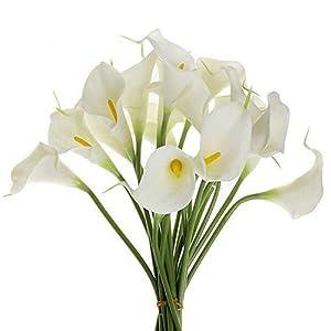 Artificial Fowers 20Pcs/Lot Decorative Flowers Lily Artificial Flower Pu Real Touch Home Decoration Party Wedding Bouquet Flowers 15
