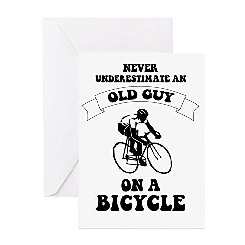 CafePress Never Underestimate An Old Guy On A Bicycle Greeting Card, Note Card, Birthday Card, Blank Inside Glossy ()