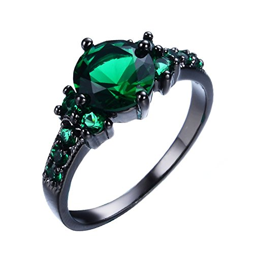 Junxin Black Gold Emerald Green Round Cubic Zirconia CZ Stones Ring Daily Wear Size6/7/8/9/10 by JunXin