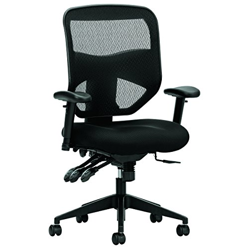 - HON Prominent High Back Task Chair - Mesh Computer Chair with Arms for Office Desk, Black (HVL532)