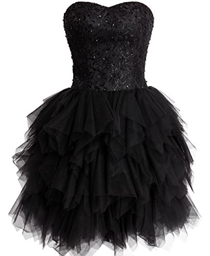 (FAIRY COUPLE Tulle Strapless Evening Cocktail Party Homecoming Dress D0237 12 Black)