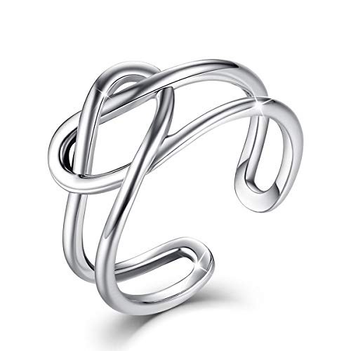 - FOREVER QUEEN S925 Sterling Silver Heart Knot Rings Torsion Band Adjustable Open Celtic Ring for Women