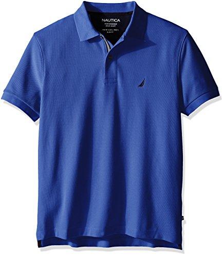 Nautica Men's Slim Fit Performance Deck Polo Shirt, French Blue, XL