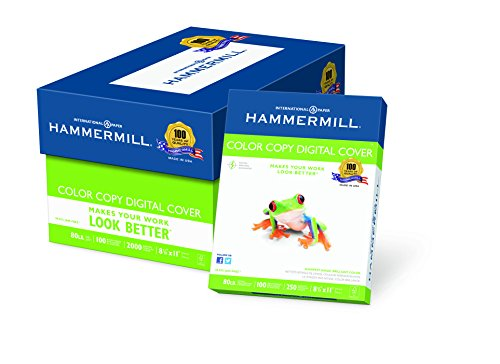 Hammermill Cover Copy Paper Color (Hammermill Paper, Color Copy Digital Cover, 80lb, 8.5 x 11, Letter, 100 Bright, 2000 Sheets/8 Pack Case (120023C), Made In The USA)