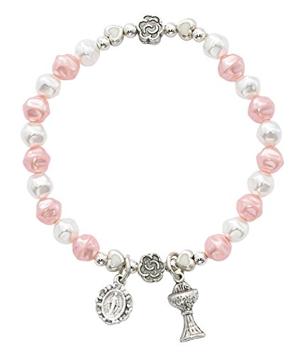 Hail Mary Gifts White & Faux Pink Pearl Stretch, 6MM White and Pink Pearl Beads with Metal Flowers and White ENAMELED Hearts. Silver OX Chalice and MIRACULOUSE Medal. Comes CARDED.