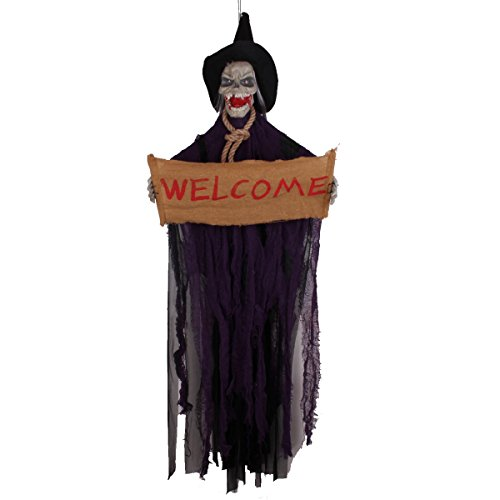 Halloween Hanging Decoration Touch & Sound Control Skeleton Ghost With Glowing Eyes & Scary Voice Demon Haunted House Electric Props 47''*16''(Purple)