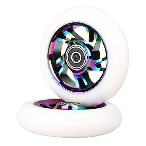 Kutrick Complete 2pcs Aluminum 100mm Pro Stunt Scooter Replacement Wheels with ABEC-9 Bearing