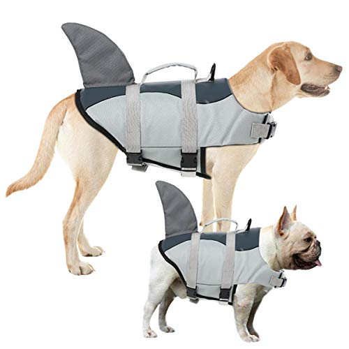 AOFITEE Dog Life Jacket Pet Safety Vest, Adjustable Dog Lifesaver Ripstop Pet Life Preserver with Rescue Handle for Small Medium and Large Dogs (Grey Shark, XL)