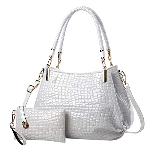 vermers Shining Snakeskin Pattern Large Top Handle Handbag Casual Purse Satchel Tote + Small Crossbody - Patent Tote Leather Mini