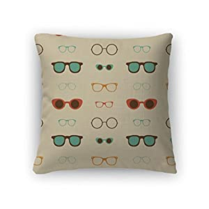 "Gear New Throw Pillow Accent Decor, Hipster Glasses Pattern, 20"" Cover & Insert, 820452GN"