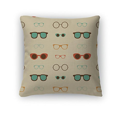 Gear New Throw Pillow Accent Decor, Hipster Glasses Pattern, 20