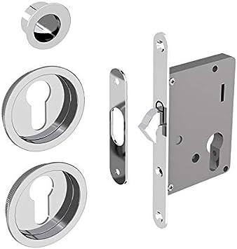 Cerradura Set para puertas correderas, adecuado para cilindro Yale, Plata cromado (sin cilindro): Amazon.es: Bricolaje y herramientas