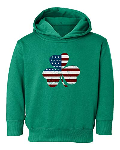 KING THREADS St Patricks Day Irish American Shamrock Little Kids Girls Boys Toddler Hooded Sweatshirt (Green, 2T)