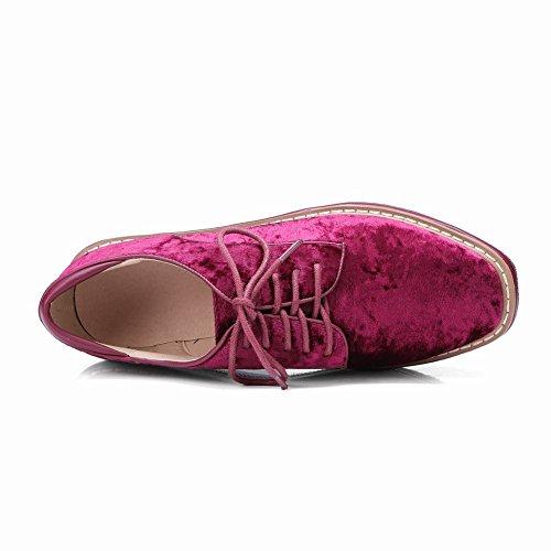 Carolbar Womens Lace-up Comfort Casual Piattaforma Zeppe Scarpe Rosso Vino