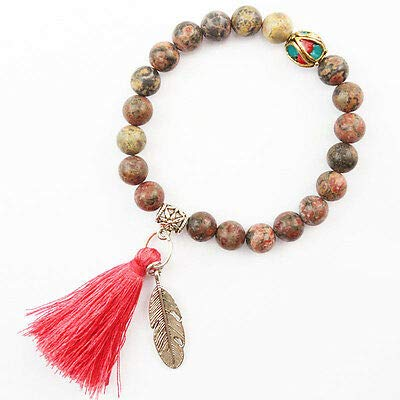 FidgetKute Mixed Stone Beads Bracelets Buddhist Tassel Plated Feather Charm Bracelet YY-11 Leopard Skin Jasper ()