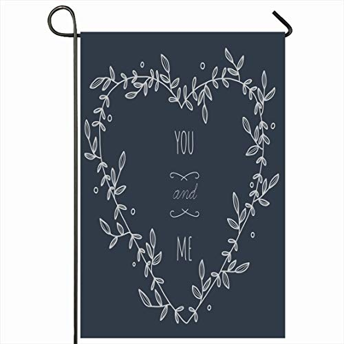 Ahawoso Outdoor Garden Flag 12x18 Inches Frame Embellishment Hand Drawn Heartshaped Wreath On Greeting Heart Floral Border Anniversary Announcement Design Seasonal Home Decorative House Yard Sign