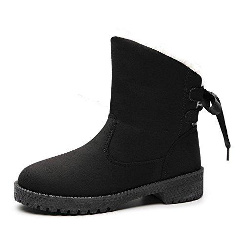 Botas de nieve botas de gran tamaño cálido invierno plus patín cachemir, zapatos de algodón negro, 41 41|black
