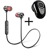 CROGIE Magnetic Wireless Bluetooth Headset with Mic & s650 Mini Wireless Bluetooth Earphone Headset with Mic for handsfree Calling, Small Lightweight Design for Android, iPhone and Other Smartphone
