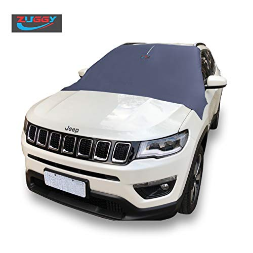 ZUGGY - Windshield Snow Cover, FITS Automobile, Vans, Trucks and SUVs - NO More Scraping - Door Flaps Windproof - Windshield Snow Cover with Magnetic Edges - 70
