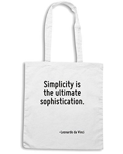 T-Shirtshock - Bolsa para la compra CIT0195 Simplicity is the ultimate sophistication. Blanco