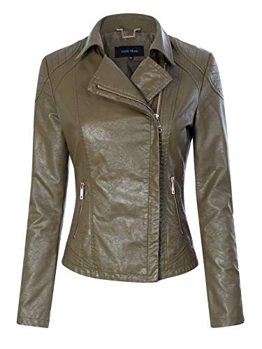 Instar Mode Women's Fashion Motorcycle Quilted Zipper Detail Faux Leather Jacket Olive S ()