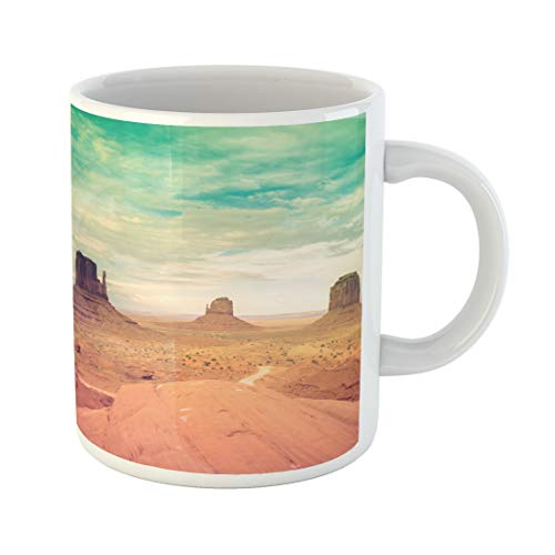Semtomn Funny Coffee Mug Colorful Monument Valley National Park Retro Processing Desert Sunset 11 Oz Ceramic Coffee Mugs Tea Cup Best Gift Or Souvenir -
