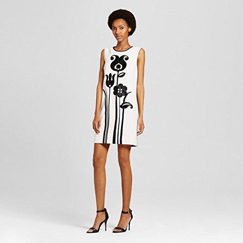 Women's Black and White Mod Shift Tulip Appliqué Dress - Victoria Beckham for - Beckham Victoria Clothes For Sale