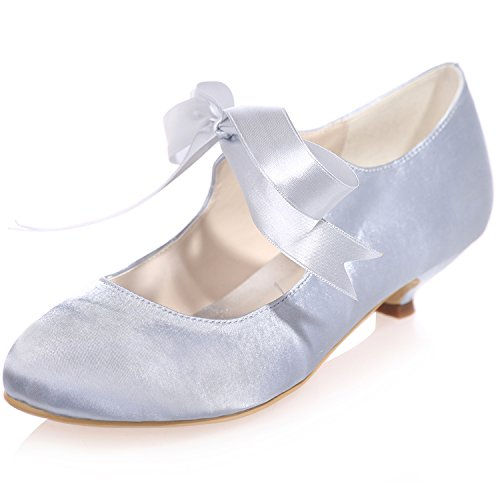 Dance 5 04 Wedding 7 Party Size Shoe For Bridal Heels Bow Szxf9001 Uk Lace Silver Low 4 Uk up Girls With Shoes Sarahbridal Round Satin Toe gdHqdCw