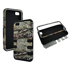 2D Hybrid 3 in 1 Pink Camo Cone Blackberry Z10 High Impact Shock Defender Plastic Outside with Blue Soft Silicone Drop Defender Snap-on Cover Case
