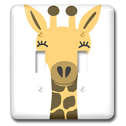 3dRose AllSouthernDesignTees - Zoo Animals - Cool cute yellow giraffe cartoon - Light Switch Covers - double toggle switch (lsp_290638_2) by 3dRose