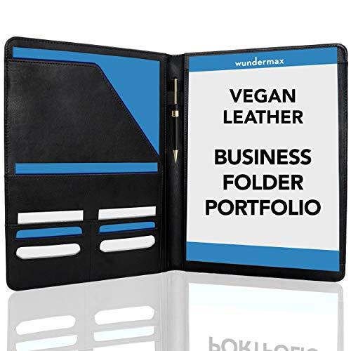 Wundermax Padfolio Portfolio Vegan Leather Binder Business Folder...