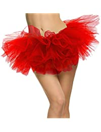 Women's Adult 5 Layered Tulle Mini Tutu Skirt, Red