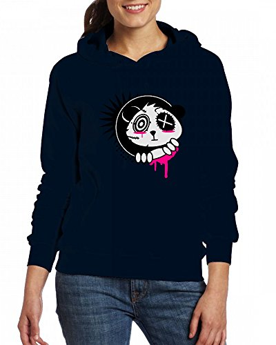 A sticker with panda bear head Womens Hoodie Fleece Custom Sweartshirts