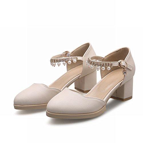 MissSaSa Damen Knöchelriemchen Chunky heel Pumps mit Strass und Perlen Schnalle Blockabstz runde Spitze Sandalen Beige