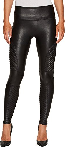 SPANX Women's Faux Leather Moto Leggings Very Black Large 26 -