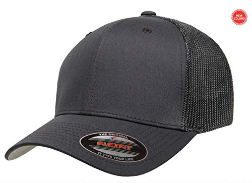 Stretch Cotton Fitted Cap - The Original Flexfit Yupoong Mesh Trucker Hat Cap & 2-Tone - Many Colors (One Size (6 7/8