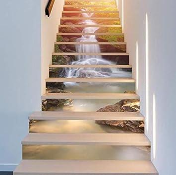 Pegatinas De Escaleras 13 Piezas Pegatinas Sol Cascada 3D Escalera Arte Para Casa Habitación Decoración Piso Calcomanías De Pared Diy Etiqueta Engomada 100 * 18cm: Amazon.es: Bricolaje y herramientas