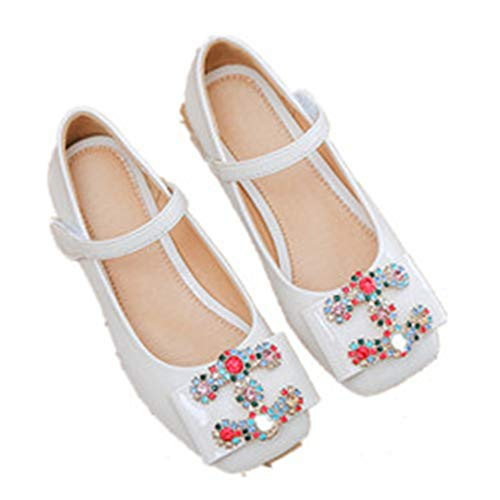 - MIKA HOM Girl's Front Bow Elastic Strap Ballerina Flat Shoes Cosplay Shoes(White1 EU 27/10 M US Toddler)