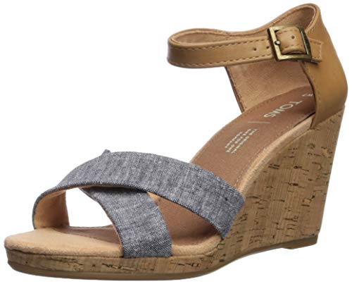 TOMS Women's Sienna Espadrille Wedge Sandal, Navy Chambray/Synthetic Leather Mix, 8.5 B Medium US (8 Wedges Womens Size Toms Shoes)