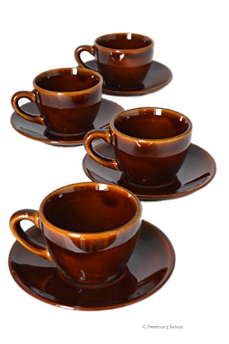 - Set 4 Brown Porcelain 4oz Demitasse Espresso Coffee Cups with Handles & Saucers