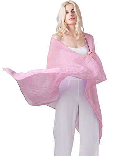 (MissShorthair Womens Long Scarf in Solid Color Large Sheer Shawl Wraps for Evening)
