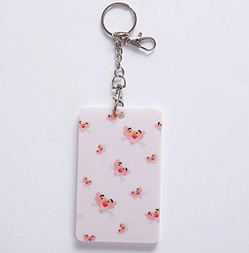 MKILJNH Semplice 2pcs stile pratico leopardo modello verticale carta di plastica porta badge portachiavi tag con etichette (rosa)