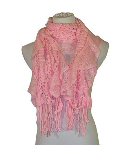 Minamo Womens Knit Ruffle Scarf with Fringe (Light Pink)