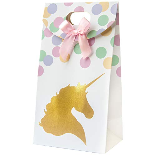 Premium Pastel and Gold Unicorn Party Favor Bags, Party Supplies for 12, Fill with Treats, Goodies, and Candy, Perfect for Birthday Parties and Showers.