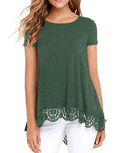 QIXING Women's Short Sleeve Casual Tops Lace Trim Tunic Loose Blouse A-Line Shirts VG Green-XL