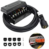 7 Way Trailer Cord with 7 Gang Junction Box - 8 Feet Harness Inline Cord - Weatherproof,Corrosion Resistant - Truck…